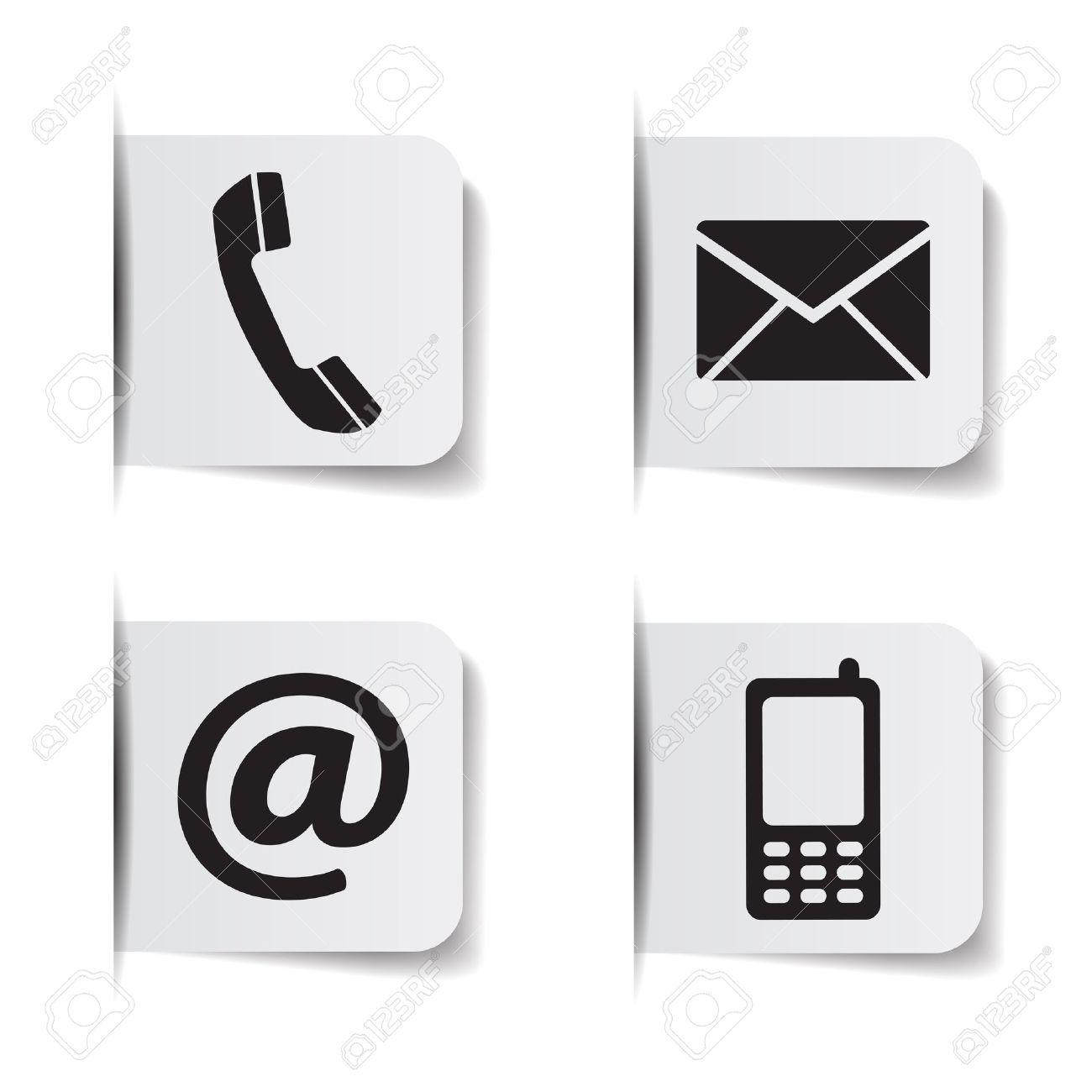 Web contact us black icons with telephone, email, mobile phone and at symbol on paper labels with shadow effects EPS 10 vector illustration isolated on white background. - 39596275