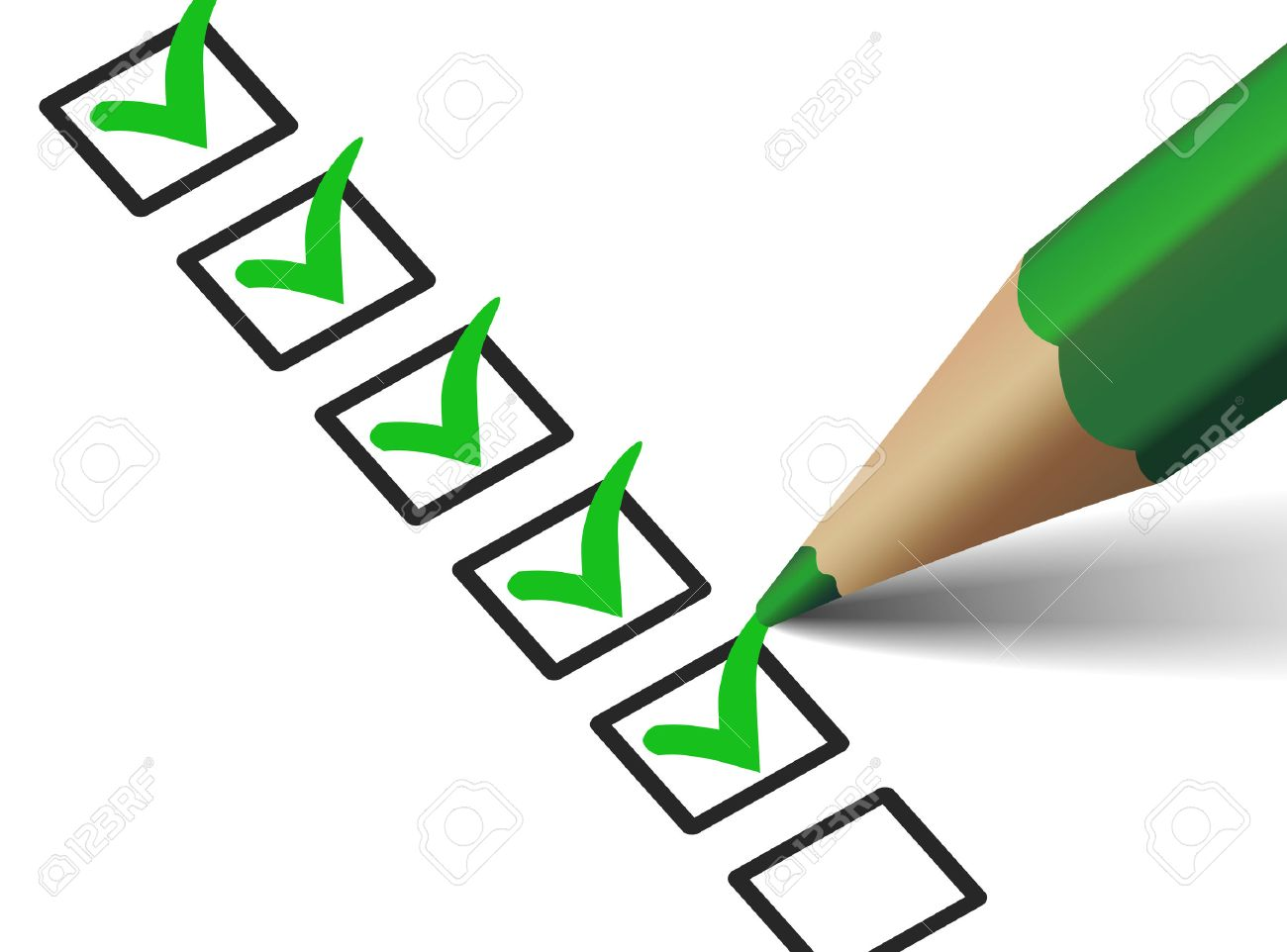 Vector Green Check Mark Symbol And Icon On Checklist With Pen