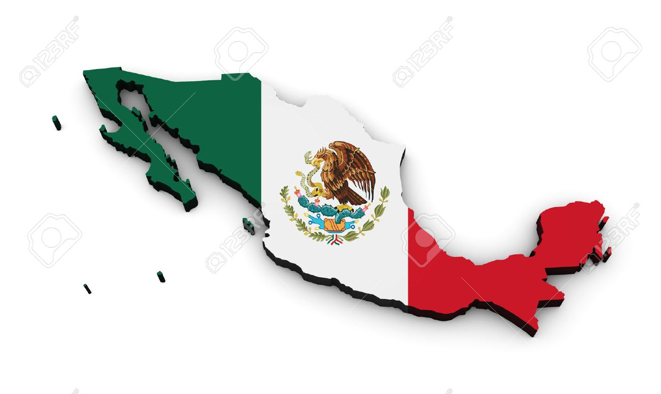 shape 3d of mexico map with mexican flag isolated on white