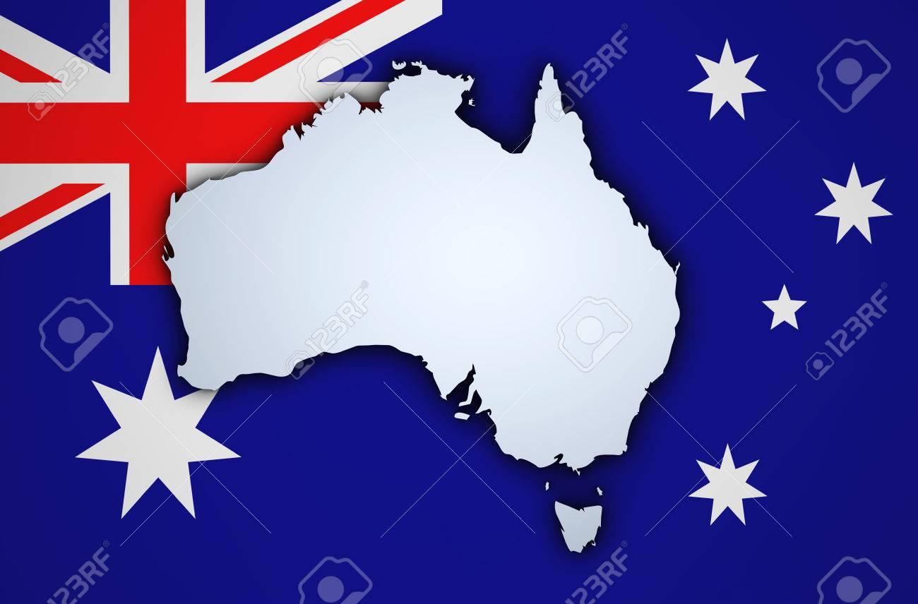 shape 3d of australia map on australian flag on background stock