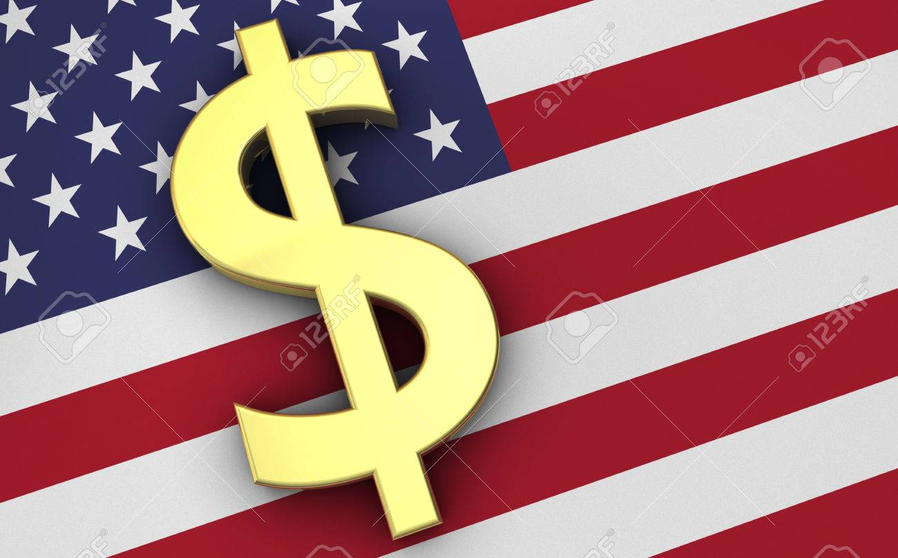 United states of america economy concept with us flag and golden united states of america economy concept with us flag and golden money usa dollars currency symbol biocorpaavc Image collections