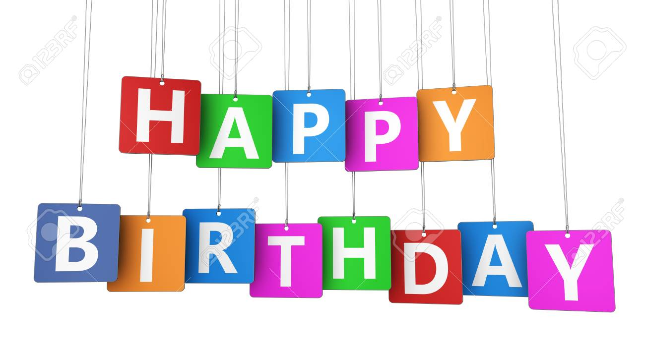 Happy Birthday Sign On Colorful Tags Concept With Word And Letters For Decoration Creative Card