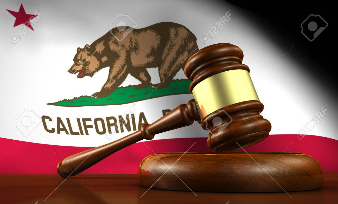 California law, legal system and justice concept with a 3d render of a gavel on a wooden desktop and the Californian flag on background. - 50994353