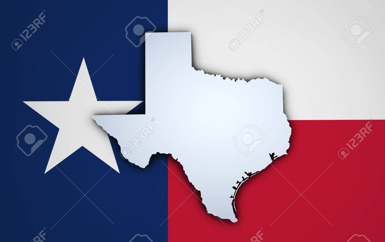 Shape 3d Of Us Texas State Map And Texan Flag On Background Stock Photo