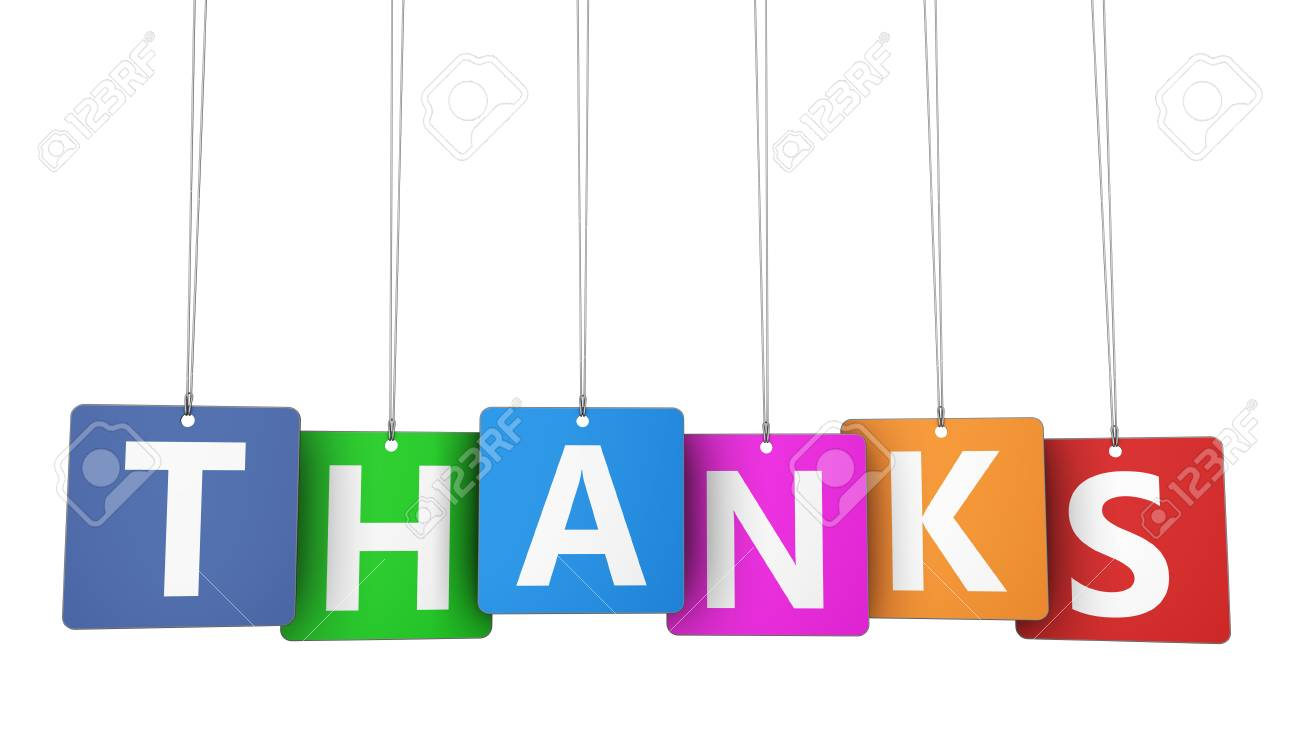 Thanks Sign And Letters On Hanged Colorful Paper Tags Marketing