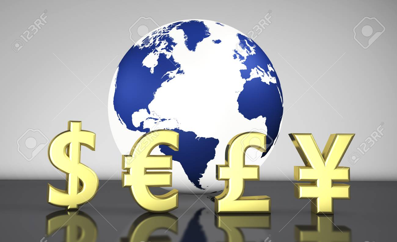 International currencies symbols and a globe with the world map international currencies symbols and a globe with the world map on background illustration for currency exchange buycottarizona Gallery