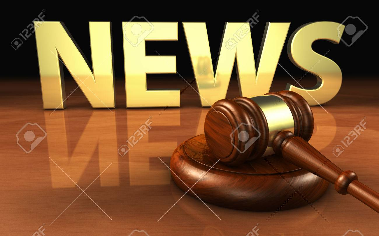 Law, justice and legal news concept with a wooden gavel and the news sign and letters on background 3D illustration. - 55154455