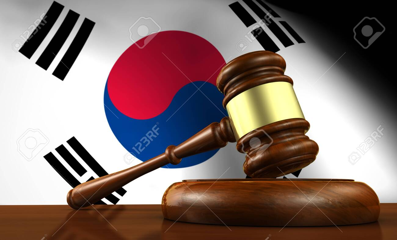 South Korea laws, legal system and justice concept with a 3D rendering of a gavel and the South Korean flag on background. - 123514134
