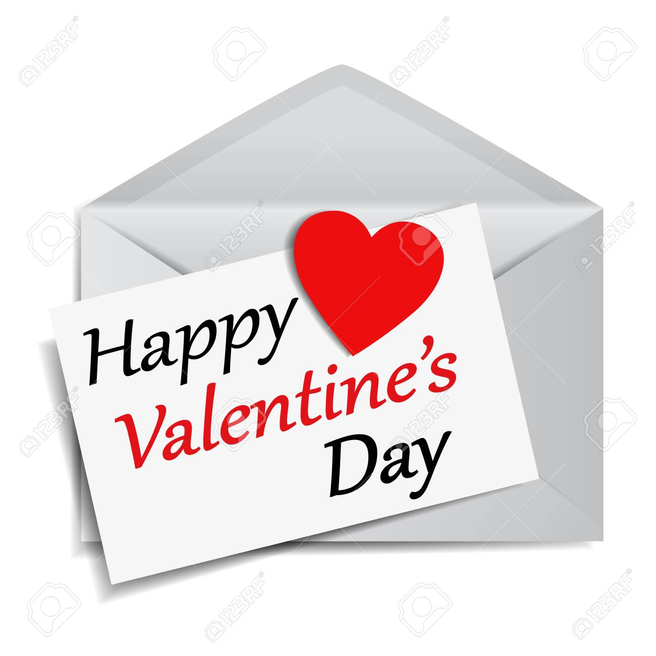 Happy Valentine's Day message and text on note paper with a red heart shaped paper on a mail envelope EPS 10 vector illustration on white background. - 123514138