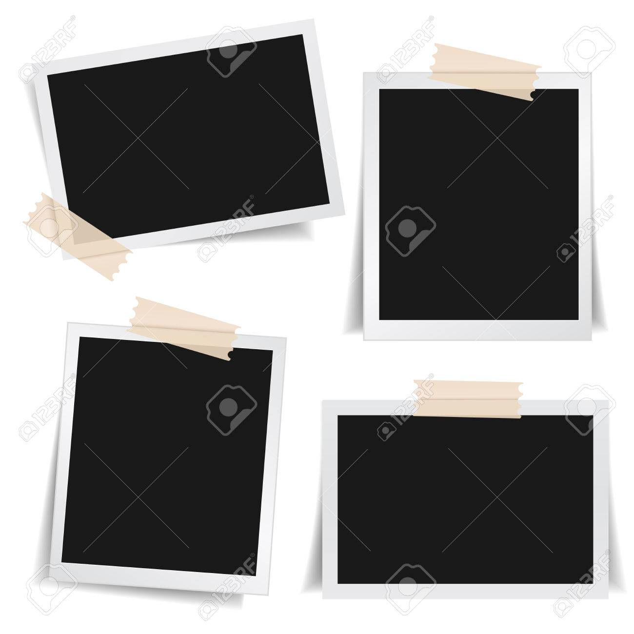 Collection Of Blank Photo Frames With Adhesive Tape, Different ...