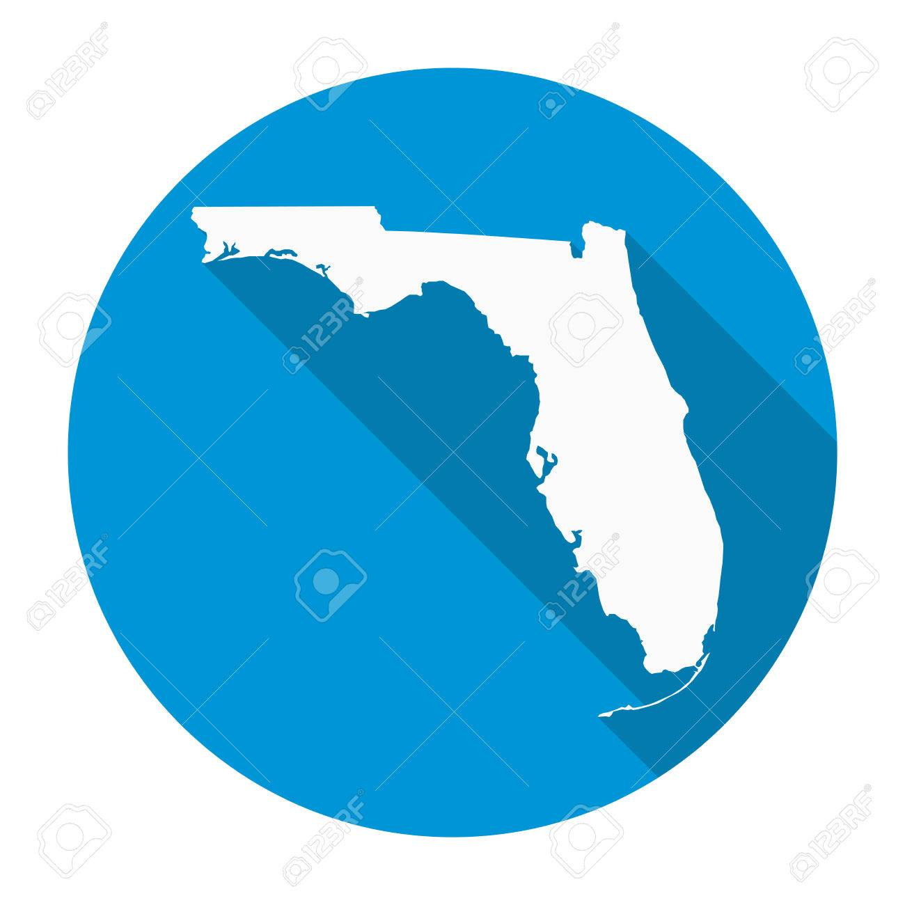 Florida State Map.Florida State Map Flat Icon With Long Shadow Eps 10 Vector