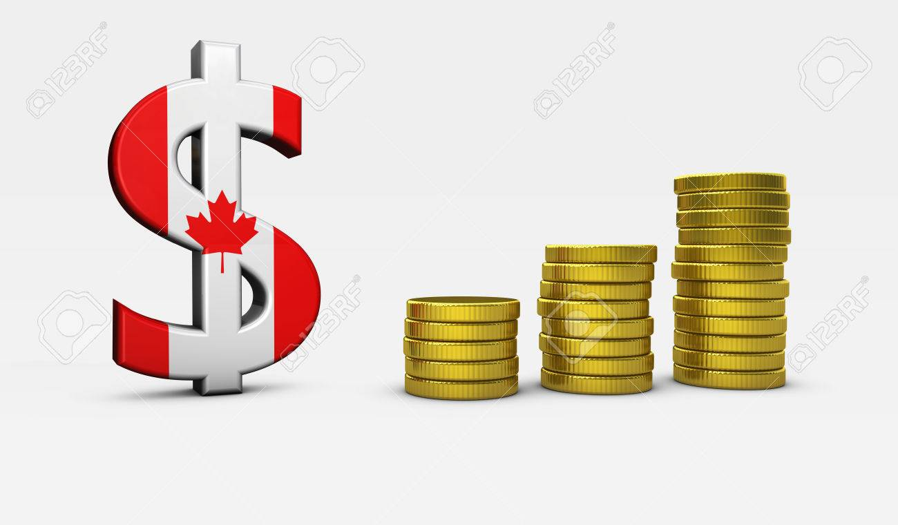 Canada economy concept with canadian flag and dollar icon and canada economy concept with canadian flag and dollar icon and golden coins stacks 3d illustration biocorpaavc Image collections