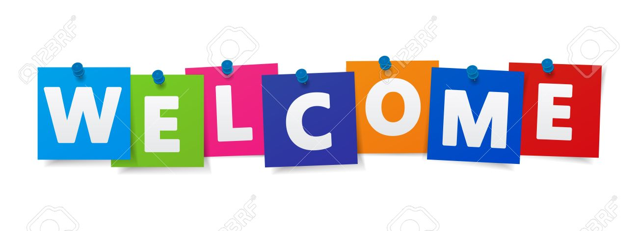 Welcome word and sign on colorful paper notes vector EPS 10 illustration on white background. - 80572250
