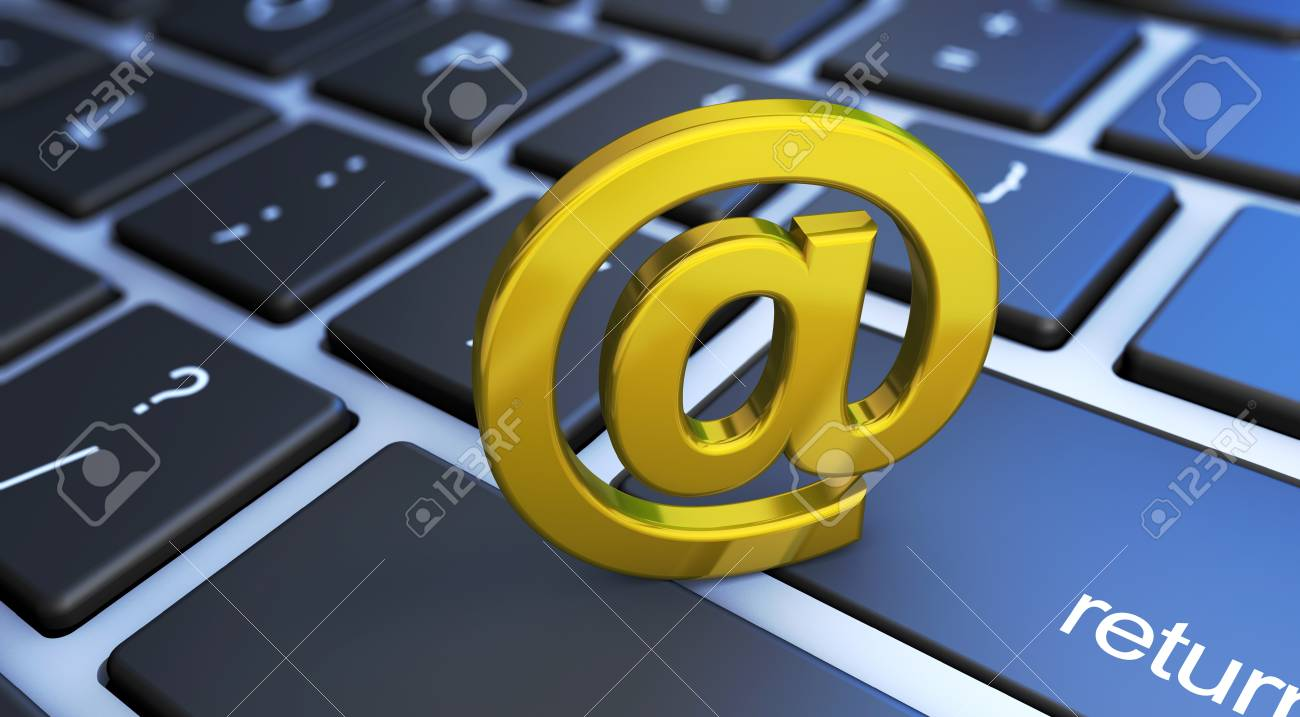 Web Contact Us Concept With A Golden At Email Symbol On A Computer