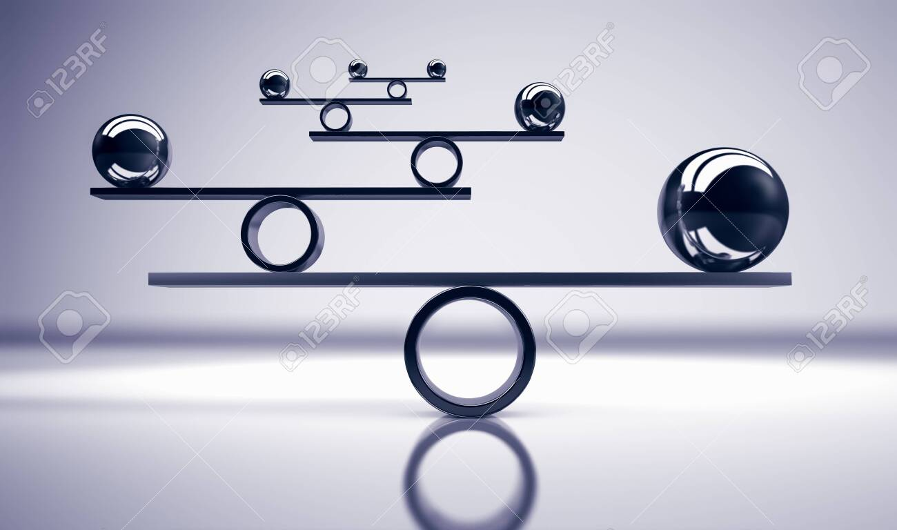 Business and lifestyle balance concept with balanced metal balls on grey background 3D illustration. - 124050543