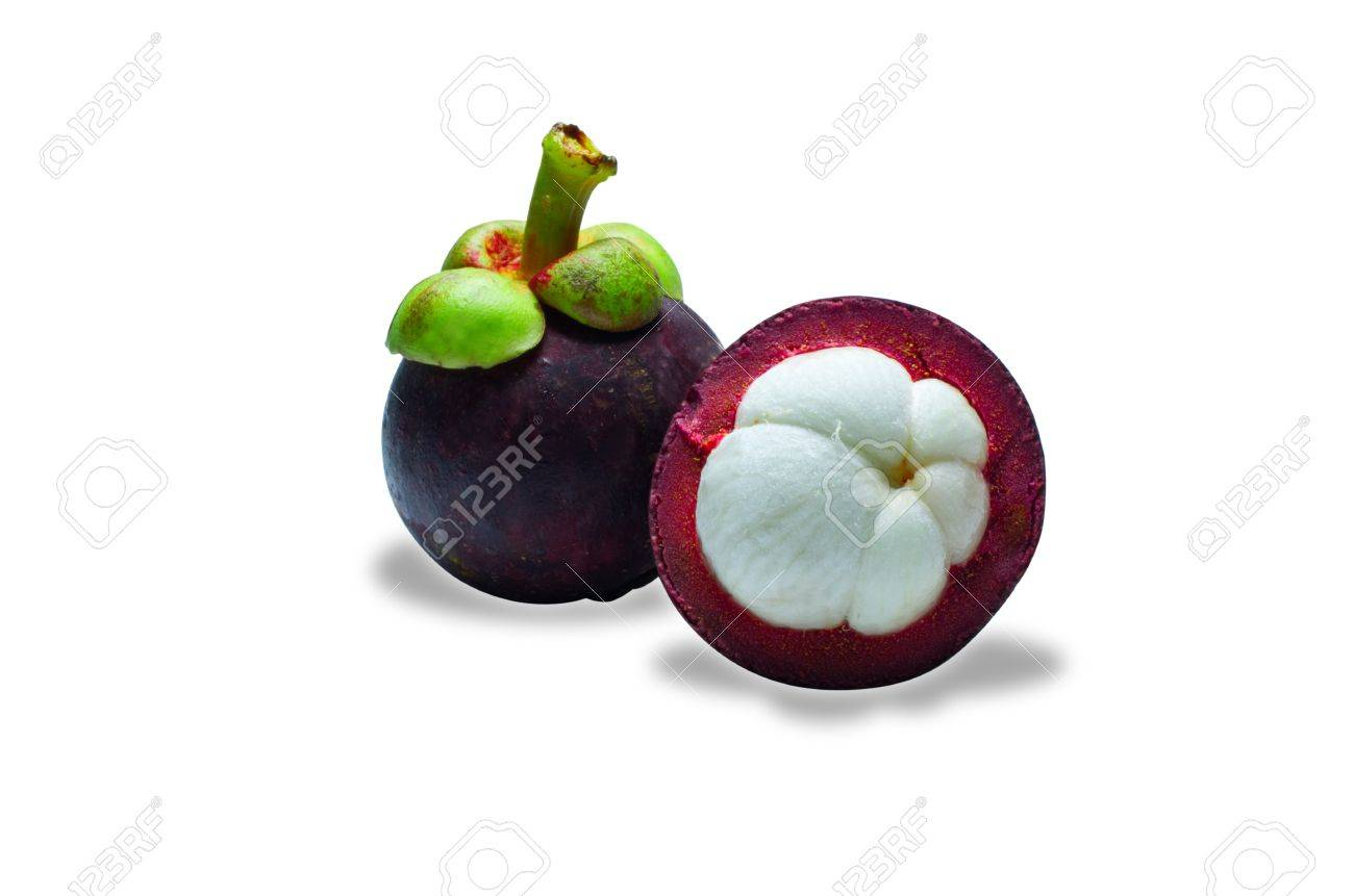 tropical mangosteen fruit on white background selective focus on front piece - 14947837