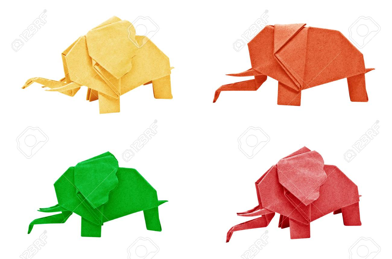Multi color origami elephant isolated on a white background stock multi color origami elephant isolated on a white background stock photo 15799703 jeuxipadfo Choice Image