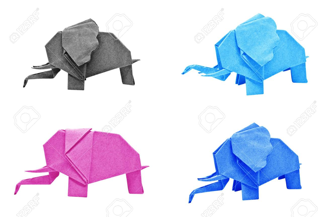 Multi color origami elephant isolated on a white background stock multi color origami elephant isolated on a white background stock photo 15799738 jeuxipadfo Choice Image