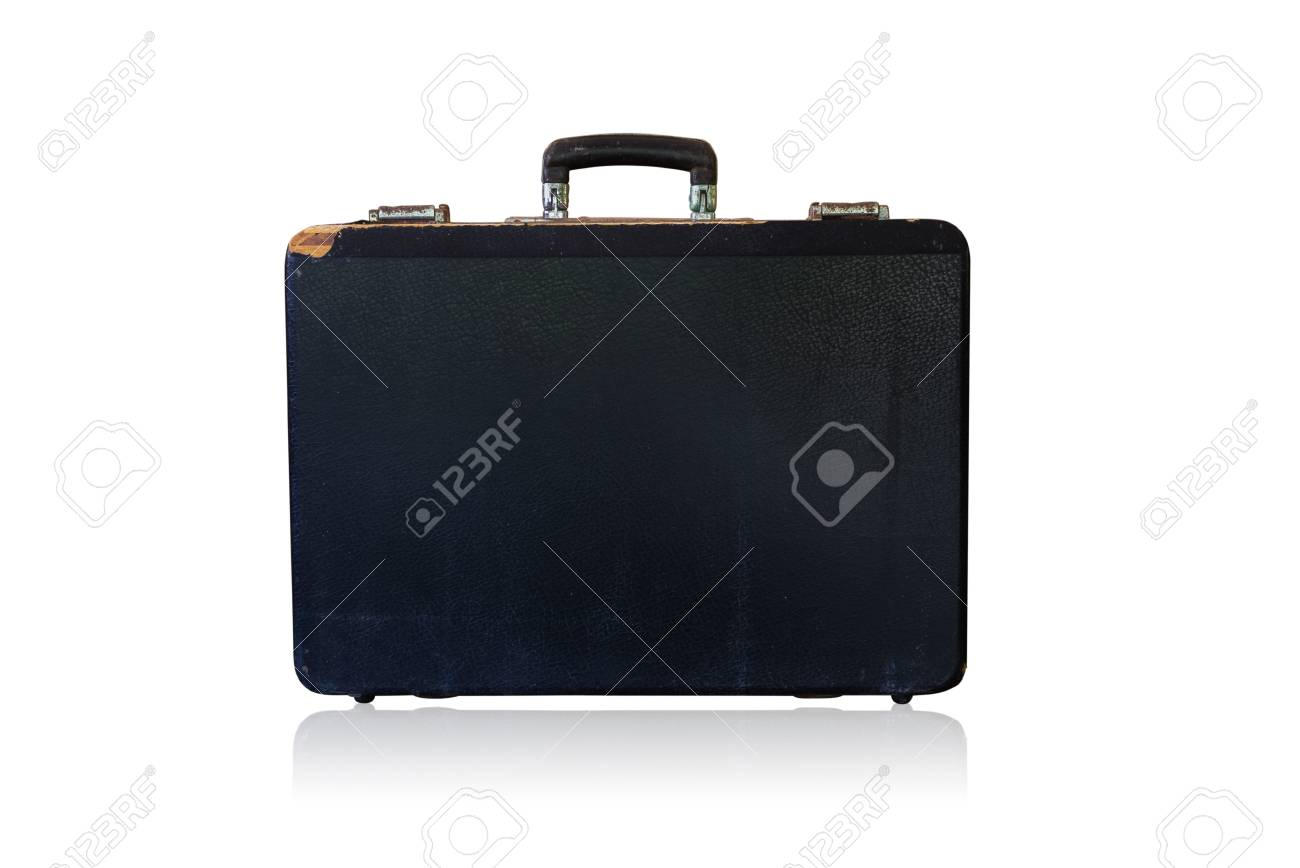 Old black brief case  on a white background. Isolated on white. Stock Photo - 17715338
