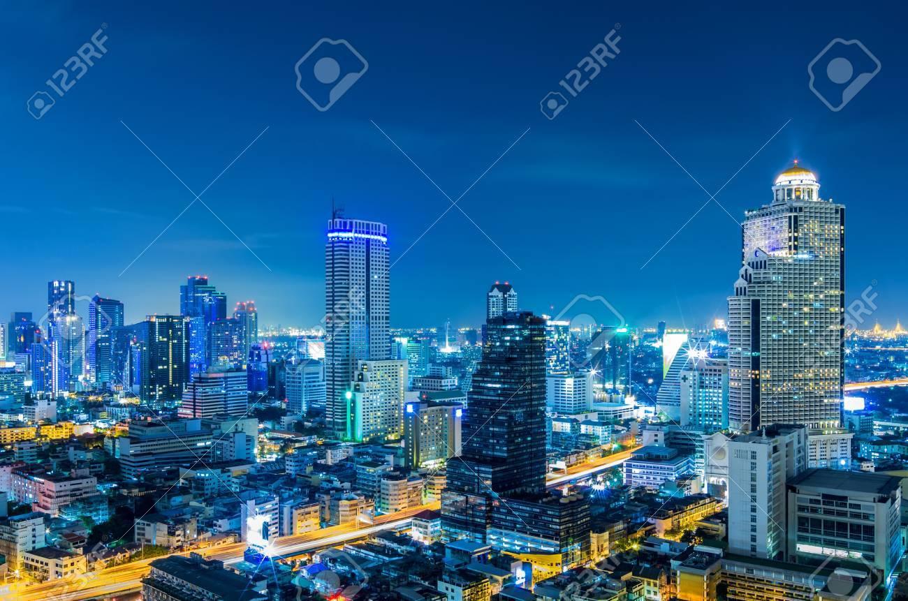 Landscape Bangkok city Modern building at twilight, high angle. - 17933230