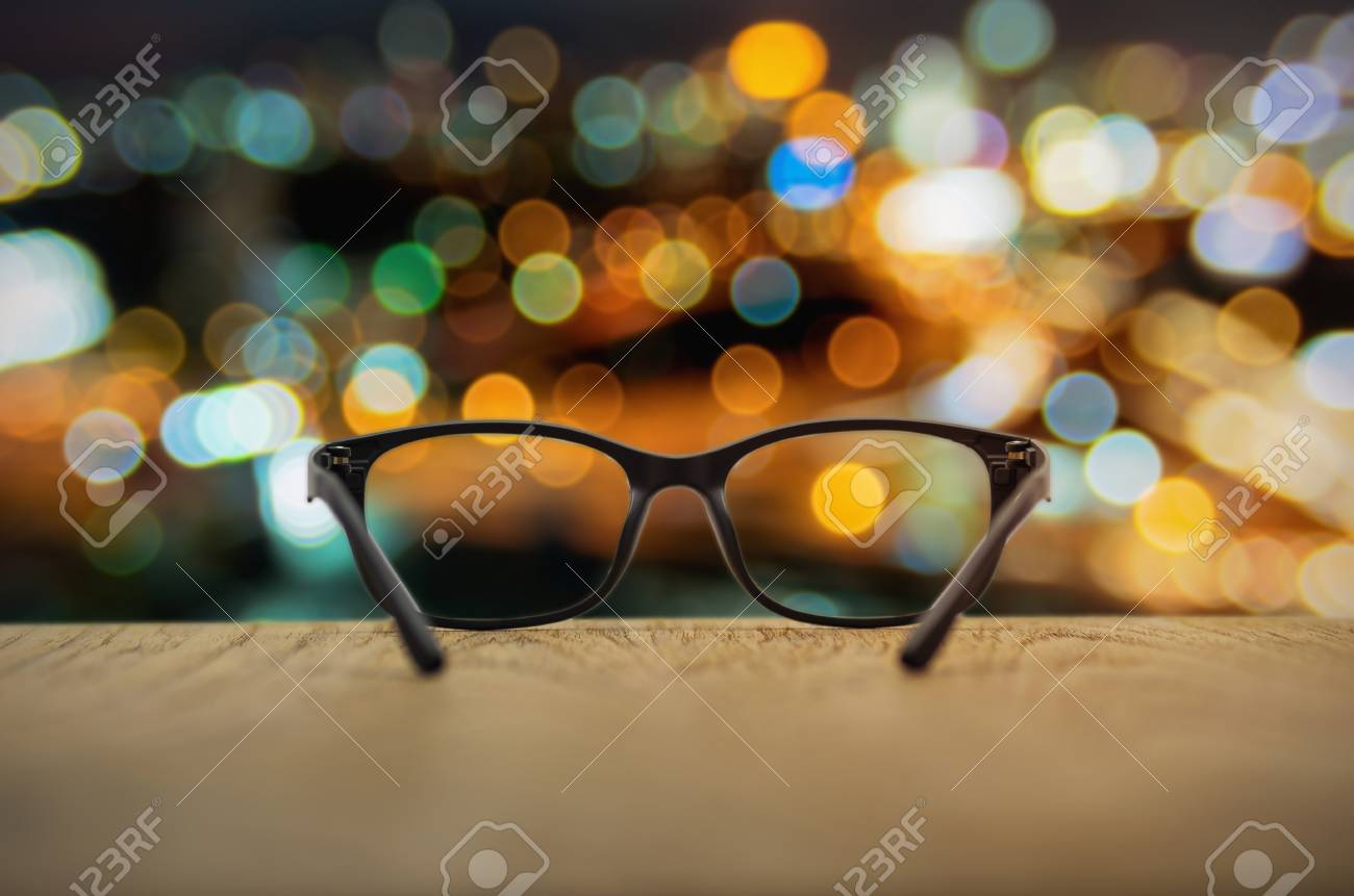 fae2fedf5b Clear focused in glasses lenses with blurred cityscape background. Stock  Photo - 71831658