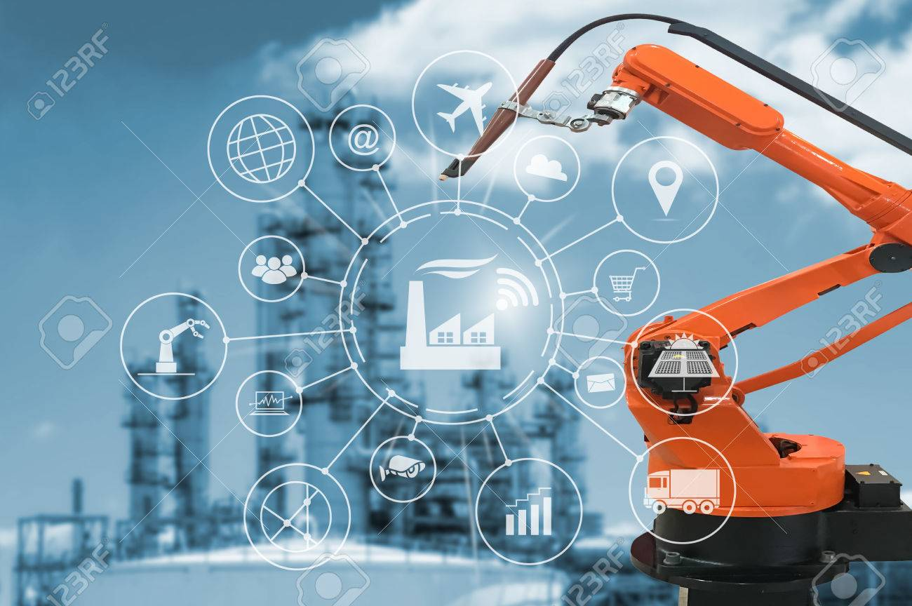 Industry 4.0 concept, smart factory with icon flow automation and data exchange in manufacturing technologies. - 78182300