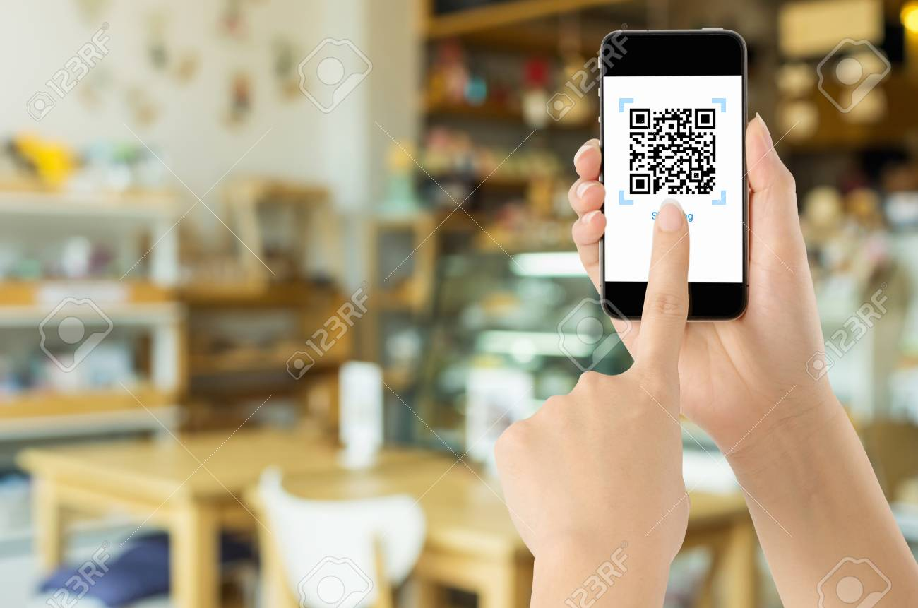 Payment via Realistic QR CODE on white screen, shopping online, pay concept technology using mobile application to scan bar code. - 99957694