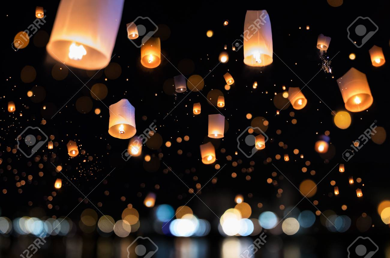Loy krathong and Yi Peng Festival filled sky with lantern in Chiang Mai Thailand. - 110676217