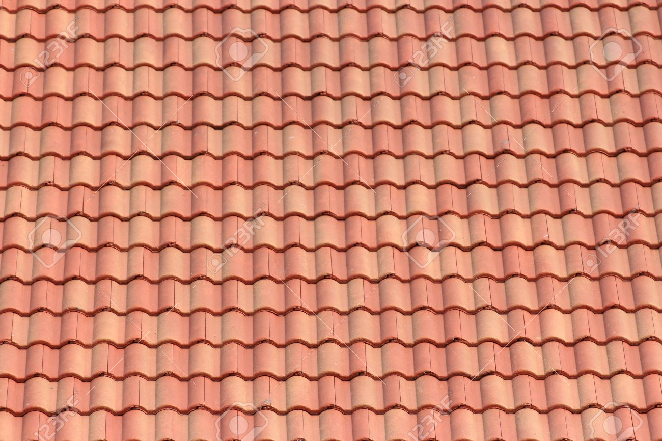 Detail of a red clay tile roof
