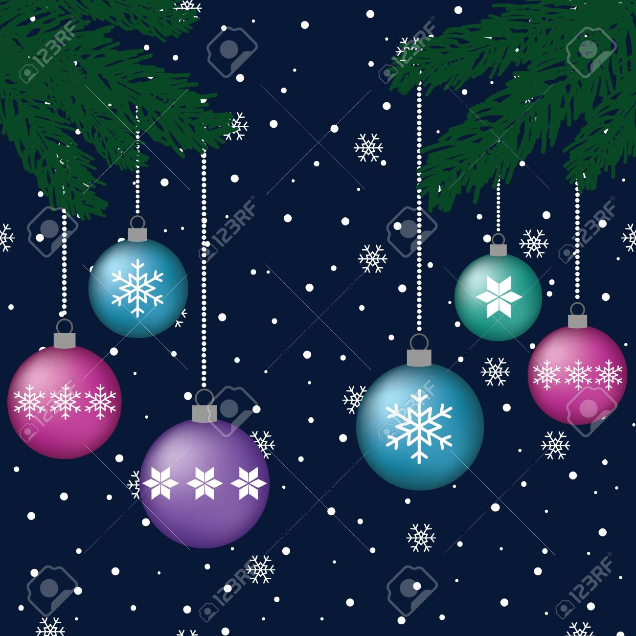 Volume Blue Purple Pink Turquoise Balls Hanging On Green Branches Royalty Free Cliparts Vectors And Stock Illustration Image 92554660