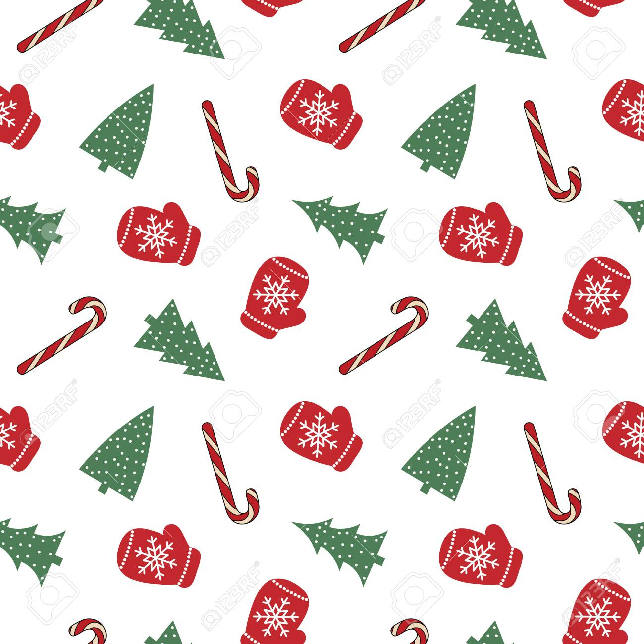 92554662 cute red mittens with snowflakes glove green christmas tree candy cane on a white background pattern