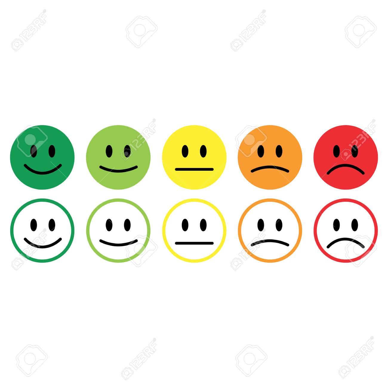 Five smile icon emotions satisfaction rating feedback vector. - 96867983