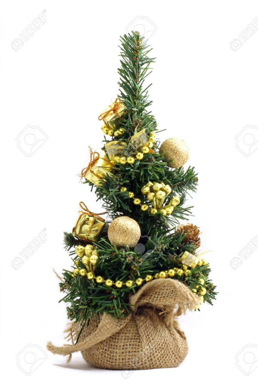 cute little christmas tree with ornaments and presents isolated on white stock photo 14479312 - Little Christmas Tree