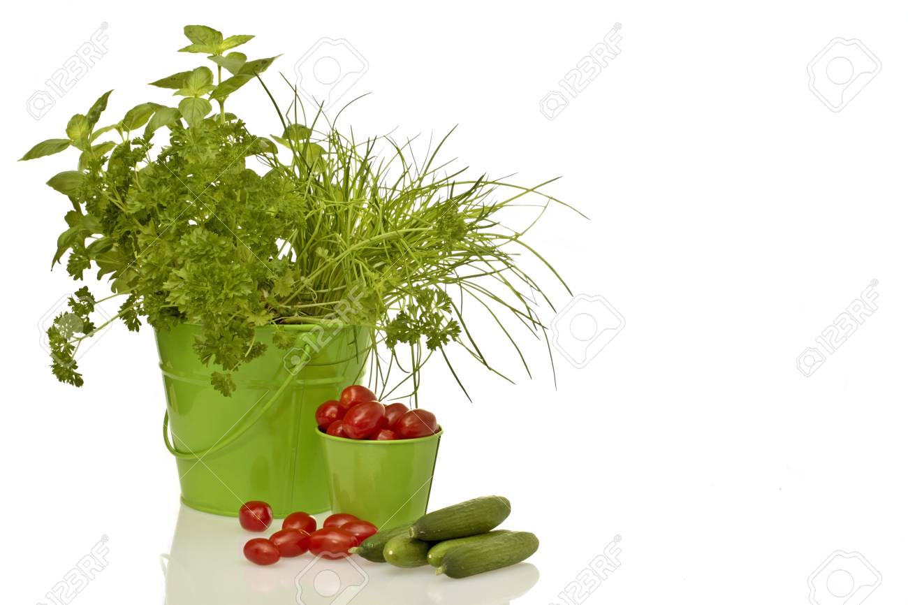 Herbs, tomatoes and cucumber Stock Photo - 13230987