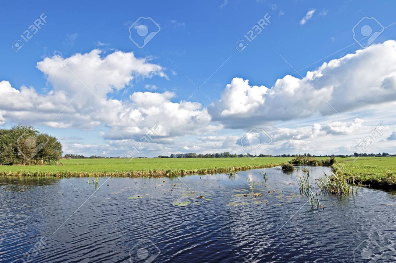 typical wide dutch landscape with meadows water and cloudscapes