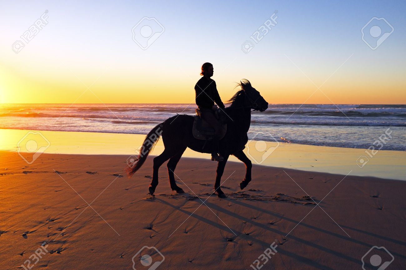 Cowgirl Riding Horse Sunset