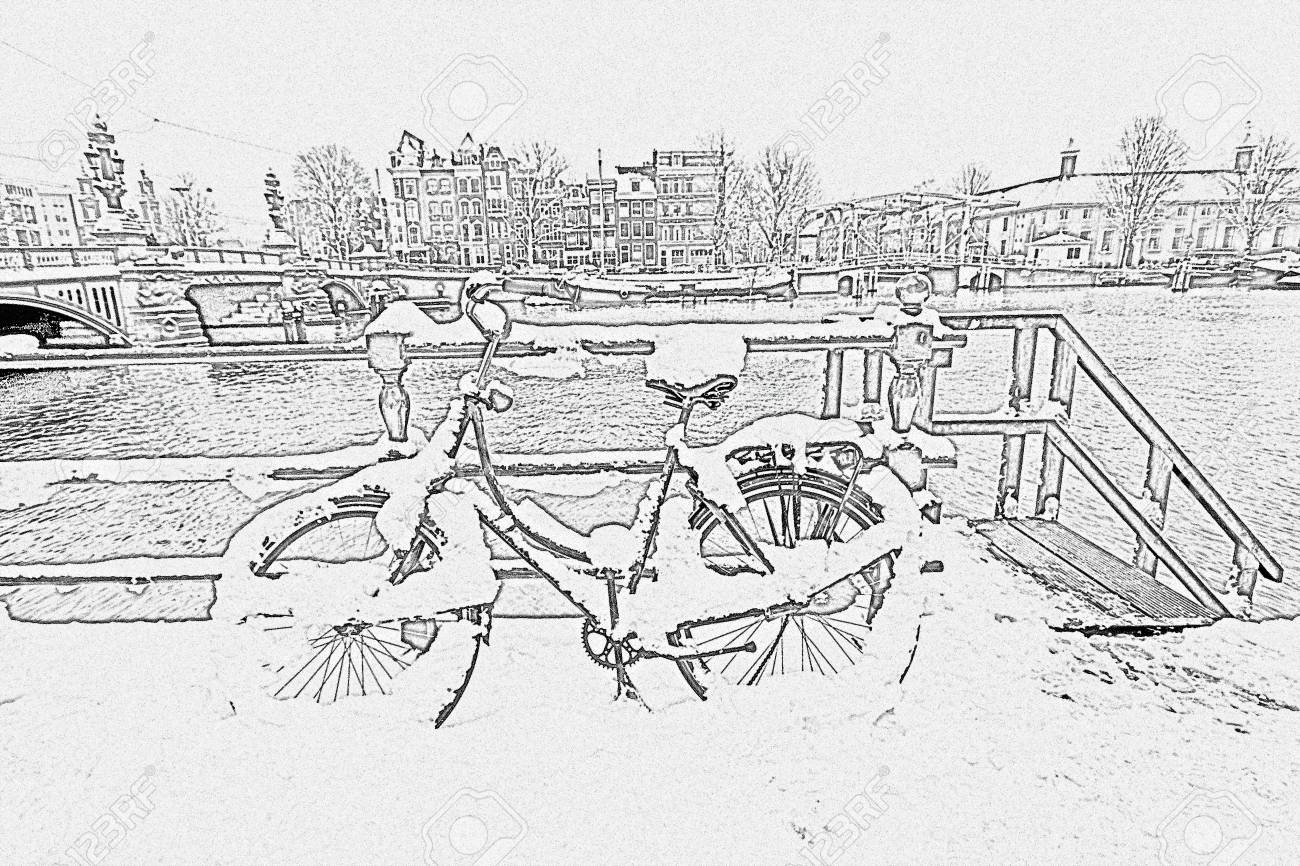 Pencil drawing from snowy bicycle in amsterdam city center the