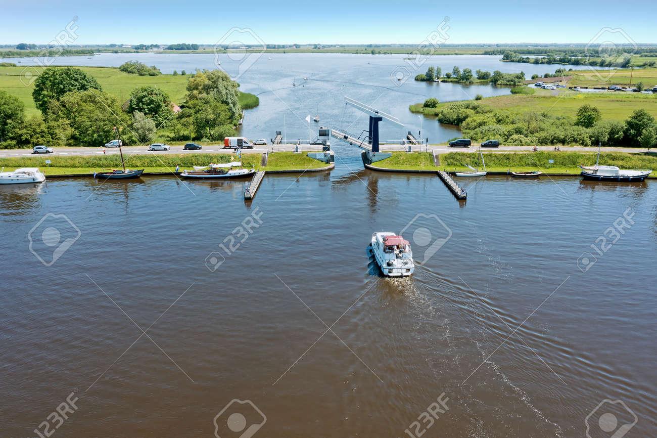 Aerial at the Heerenzijl bridge at the Sneekermeer in Friesland the Netherlands - 172331714