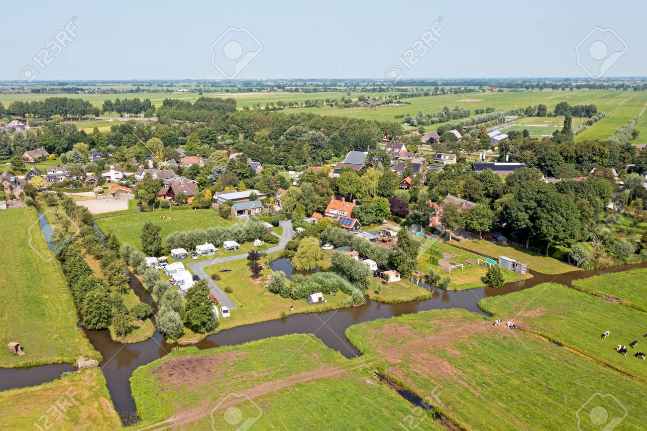 Aerial from a camping place in the countryside from the Netherlands - 172331726