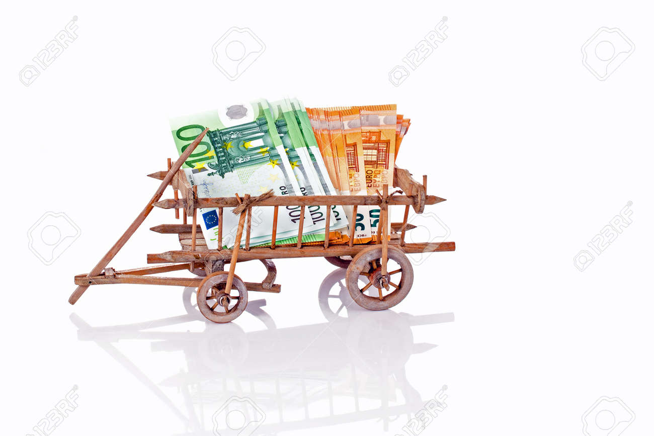 An old wooden cart full of money on a white background - 172314424