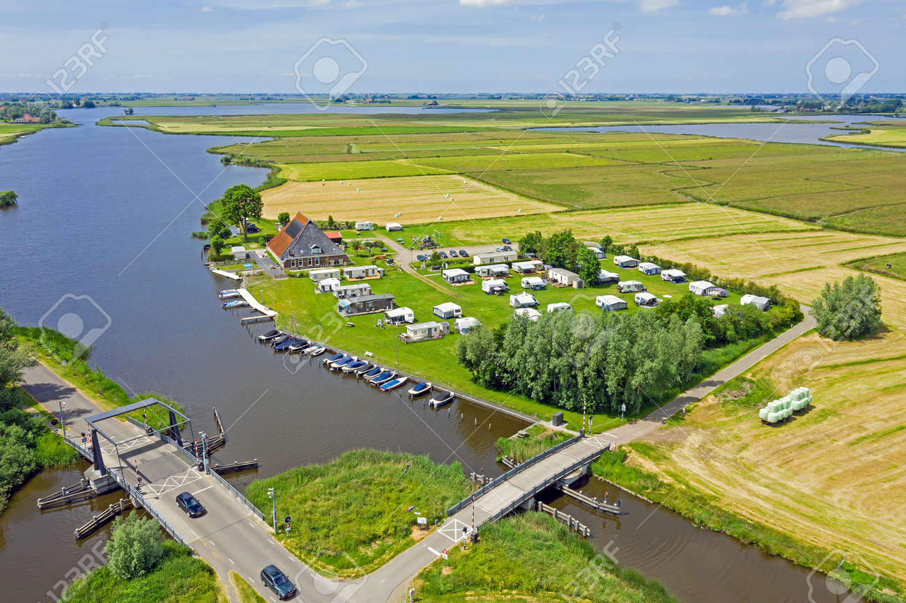Aerial view from the Hegermeer in Friesland the Netherlands - 172331729