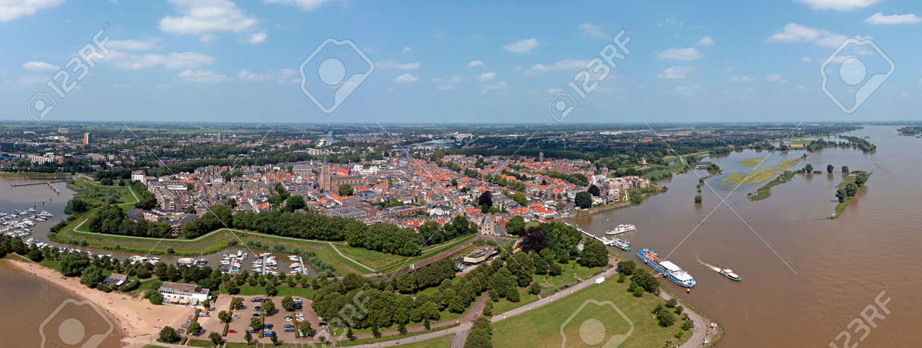 Aerial panorama from the city Gorinchem in the Netherlands - 173115737