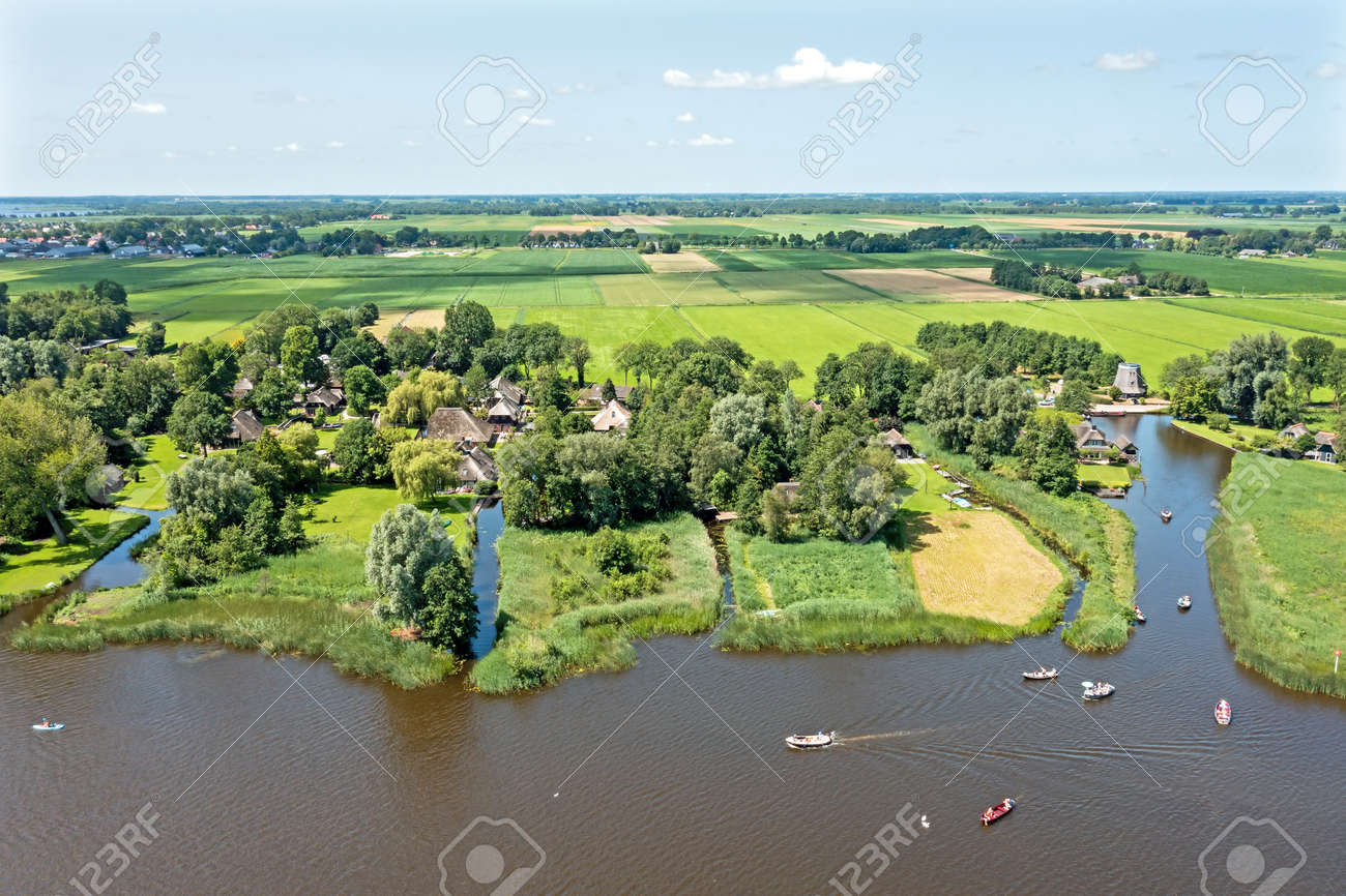 Aerial from the famous village Giethoorn in Overijssel the Netherlands - 173115741
