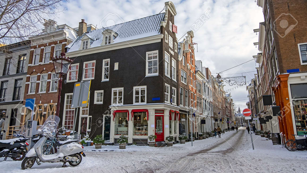 Snowy Amsterdam in winter in the Netherlands - 172653897
