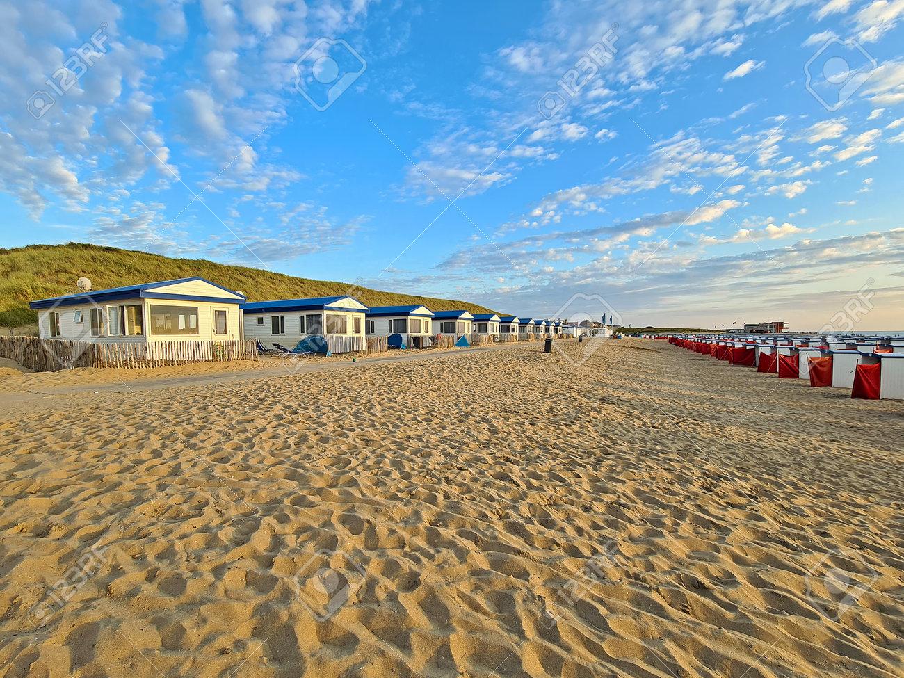 Beach houses at Katwijk aan Zee in the Netherlands - 173297760