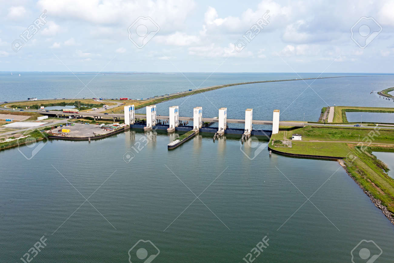 Aerial from Houtrib sluices near Lelystad in the Netherlands - 173318521