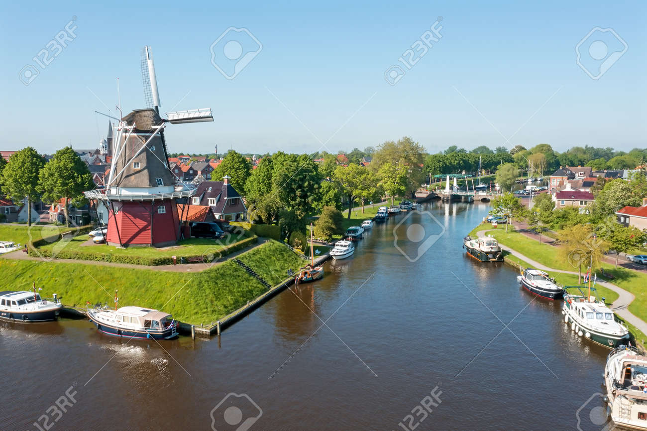 Aerial view on Dokkum with windmill De Hoop in the Netherlands - 173318614