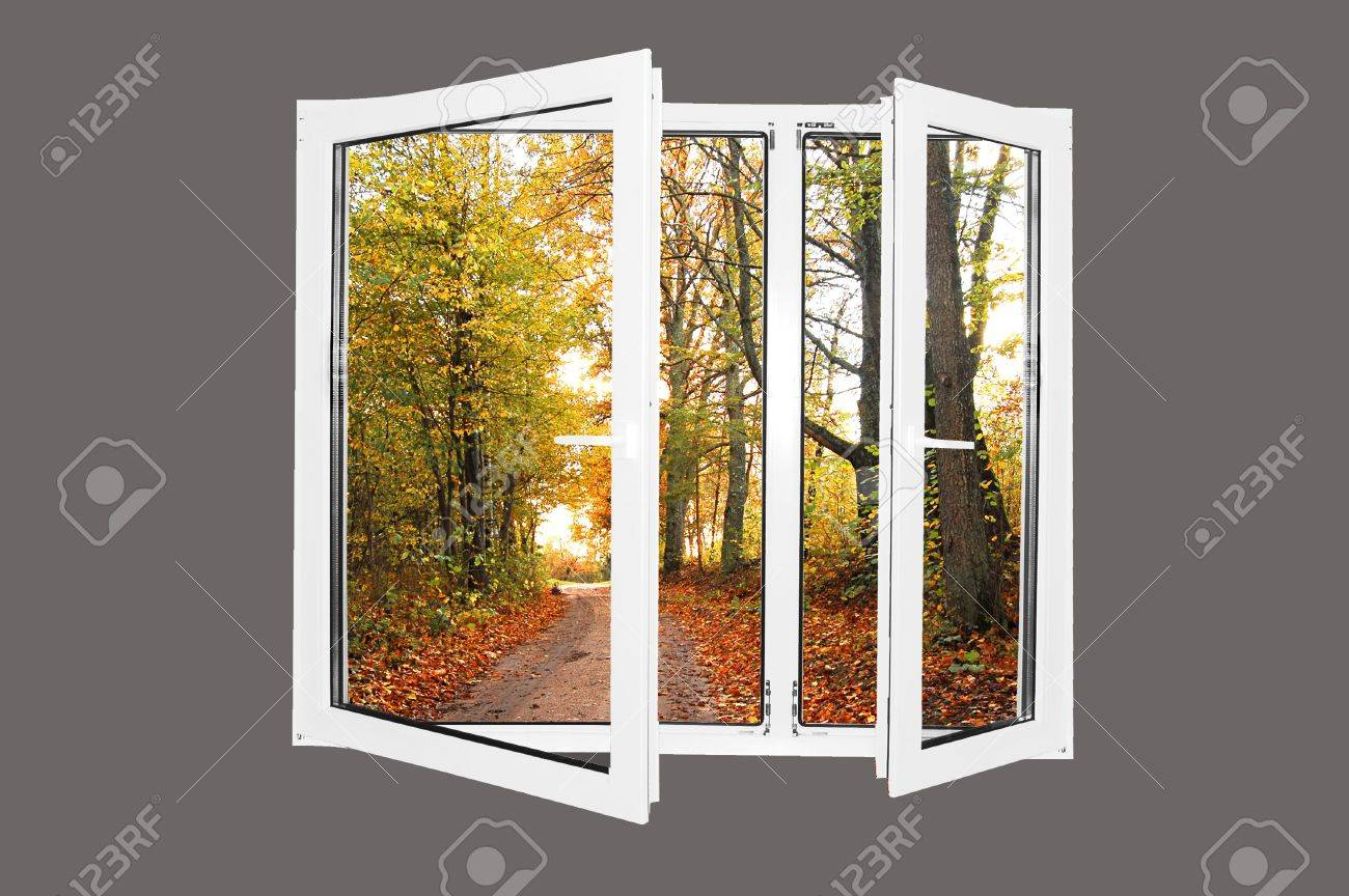 Beautiful world behind the window. Autumn version. Easy editable image. Stock Photo - 1067818