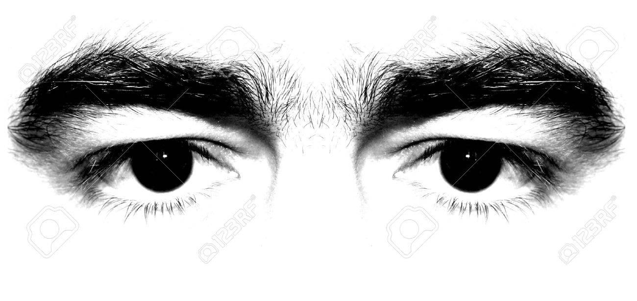 Man black eyes on white background stock photo 1126126