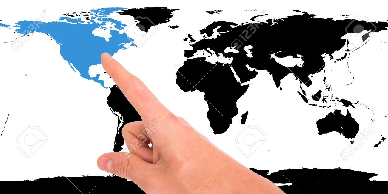 Hand pointing on world map north america highlighted stock photo hand pointing on world map north america highlighted stock photo 3254024 gumiabroncs Image collections